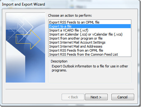 Export pst file in outlook