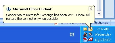 Outlook exchange is disconnecting