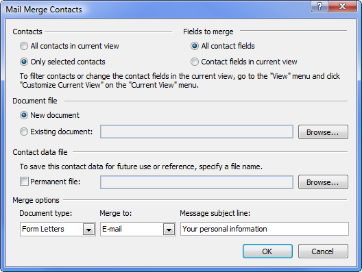 Mail Merge outlook
