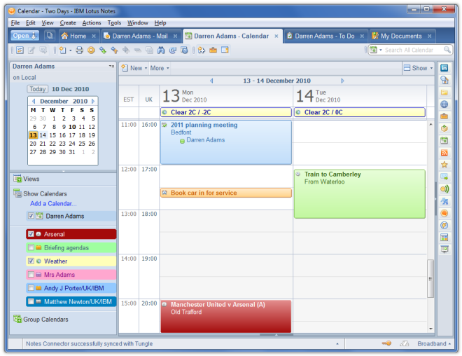 calendar weather in outlook