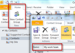 create contact group in outlook